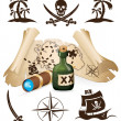 Treasure map, pirate collection — Stock Vector #6864161