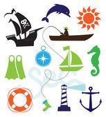 Sea icons — Stock Vector