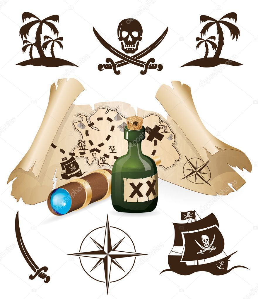 Pirate Map Symbols http://depositphotos.com/6864161/stock-illustration-Treasure-map-pirate-collection.html