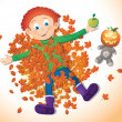 Boy in autumn leaves. — Stock Vector