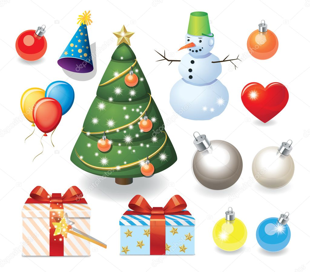 New Year set: vector decoration objects — Stock Vector #7588008