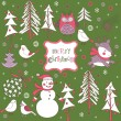 Royalty-Free Stock Imagen vectorial: Christmas forest with birds deer and snowman
