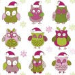 Christmas Owls — Stock Vector #7894809