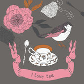 I Love Tea — Stock Vector