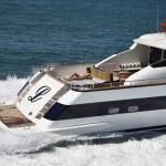 Italy, Tyrrhenian Sea, Tecnomar 26 luxury yacht, aerial view — Stock Photo #6761748