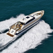 Stock Photo: Italy, Tyrrhenian Sea, Tecnomar 26 luxury yacht, aerial view