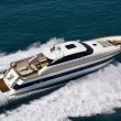 Italy, Tyrrhenian Sea, Tecnomar 26 luxury yacht, aerial view — Stock Photo