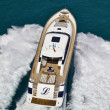 Italy, Tyrrhenian Sea, Tecnomar 26 luxury yacht, aerial view — Stock Photo #6850455