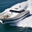 Stock Photo: Italy, TyrrheniSea, Tecnomar 26 luxury yacht, aerial view