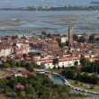 Italy, Venice, Murano Island and venetian lagoon aerial view - Stock Photo