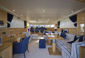 Italy, Tuscany, Viareggio, Tecnomar Velvet 26 luxury yacht — Stock Photo