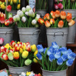 Stock Photo: Holland Amsterdam, flowers market, wooden hand painted tulips