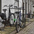 Stock Photo: Holland, Edam village (Amsterdam), bycicles parked