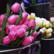 Holland Amsterdam, Flowers Market, wooden hand painted tulips — Stock Photo