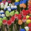 Holland, Amsterdam, flowers market, wooden hand painted tulips — Stock Photo
