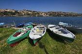 Italy, Sicily, Messina, Ganzirri lake, fishing boats — Stock Photo