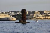 Ostrov malta, pohled z valletty přístavu vstupu z moře — Stock fotografie