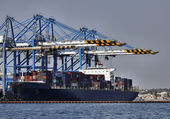 Malta Island, Marsaxlokk, cargo ships loading factory — Stock Photo