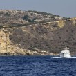 Malta Island, old Saracin tower and luxury yacht - Stock Photo