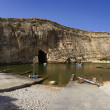 Malta,  Gozo Island, panoramic view of Dwejra internal lagoon - Stock Photo
