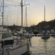 Stock Photo: Malta, Gozo Island, view of Ghajnsielem town the marina at sunset