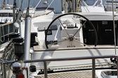 Italy, Tuscany, Viareggio, sailing boat, steering-wheel — Stock Photo