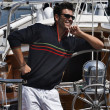 Italy, Tuscany, young sailor dressed casual on a sailing boat — Stock Photo #7931865