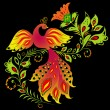 Stock vektor: Colorful bird and flower