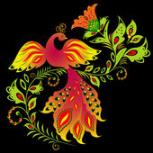 Colorful bird and flower — Vector de stock