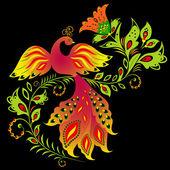Kleurrijke vogel en bloem — Stockvector