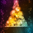 Stock Vector: Colorful Christmas tree made of light dots with stars