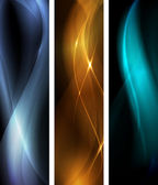 Abstract dark wave banner set — Stock Vector