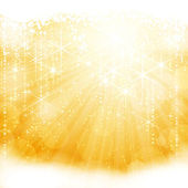 Abstract golden sparkling light burst with stars and blurry lights — Stock Vector