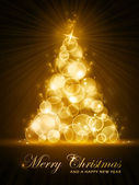 Golden stylised Christmas tree — Stockvektor
