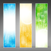 Vertical banner set with light bursts — Stock Vector