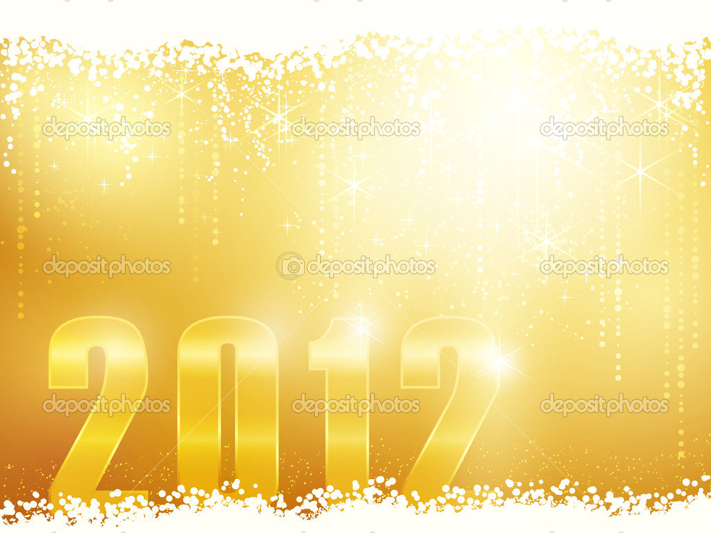 Festive golden sparkling new years background with snow, shiny stars and the number 2012  Stock Vector #7688333