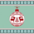 Christmas ball with nordic pattern - Stock Vector