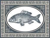 Illustrazione vettoriale antichi pesci — Vettoriale Stock