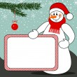 Snowman with billboard christmas vector background — Stock Vector