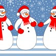 Snowmen trio — Stock Vector