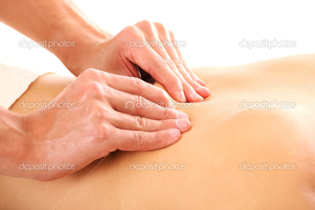 A picture of male hands giving a back massage over white background — Stock Photo #6862892