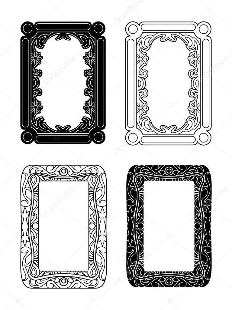 Black and white and outlined picture frames  Stock Vector #7277138