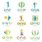 1 numaralı için simgeler — Stok Vektör