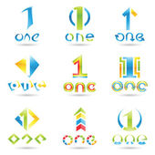 Icons for number 1 — Stock Vector