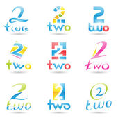 Icons for number 2 — Stock Vector