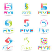Icons for Number 5 — Stock Vector