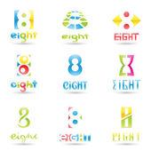 Iconos de número 8 — Vector de stock
