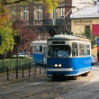 The tram in the street — Stock Photo