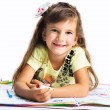 Little girl painting isolated on white background — Stock Photo