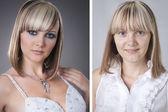 Genç ve güzel kadın önce ve sonra makeover studio — Stok fotoğraf